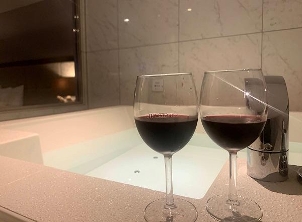 お風呂でワイン